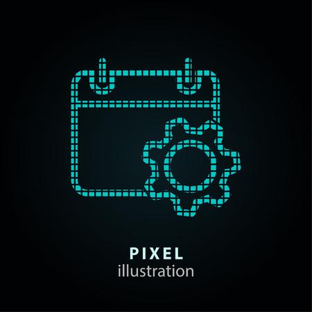 Setting calendar - pixel icon. Vector Illustration. Design logo element. Isolated on black background.