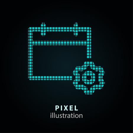 Calendar and gear pixel icon. Vector Illustration. Illustration