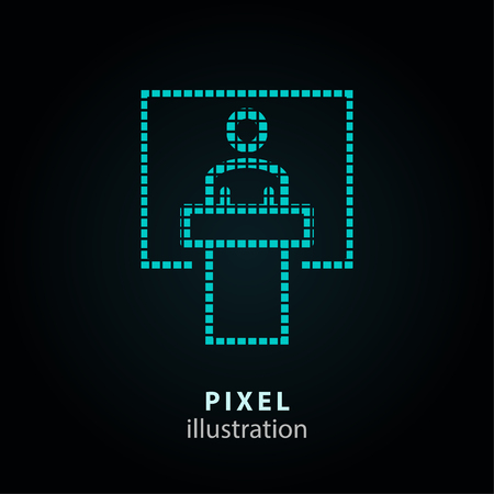 Management consulting concept - pixel icon with man in podium. Vector Illustration.