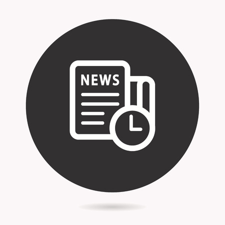 News vector icon. White illustration isolated on black background for graphic and web design. Illustration