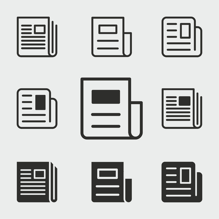 News vector icons set. Black illustration isolated for graphic and web design. 向量圖像