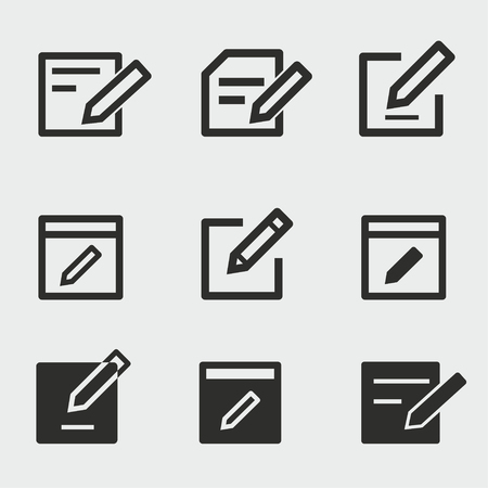 Edit vector icons set. Black illustration isolated for graphic and web design.  イラスト・ベクター素材