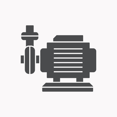 Water pump vector icon. Black illustration isolated for graphic and web design. Vettoriali