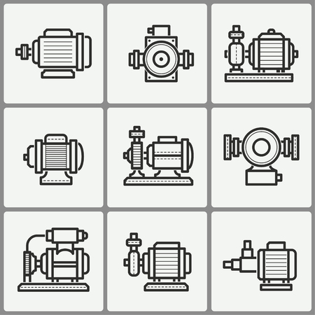 Water pump vector icons set. Black illustration isolated for graphic and web design.  イラスト・ベクター素材