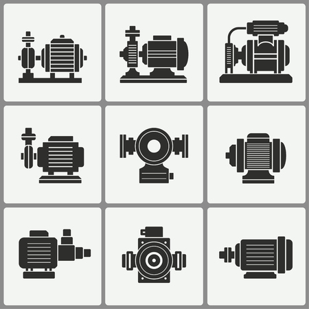 Water pump vector icons set. Black illustration isolated for graphic and web design. 矢量图像
