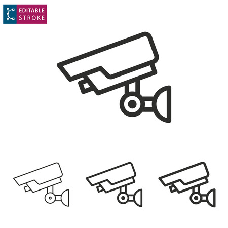Security camera - outline black icon. Editable stroke. Vector illustration