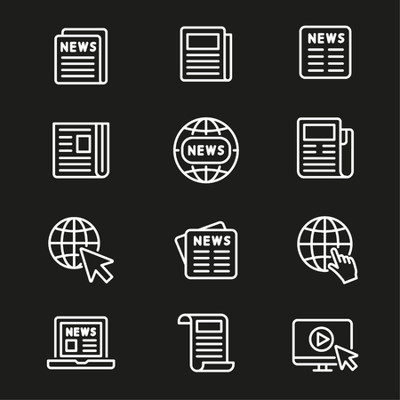 Newspaper line icon with monitor and globe Illustration