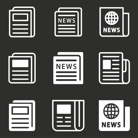Newspaper icon - news symbol, vector article illustration