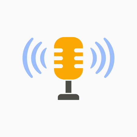 Voice record icon, sound music, vector mic illustration
