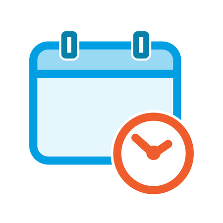 Vector calendar clock icon, event symbol Illustration