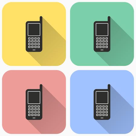 Vector icono de teléfono antiguo móvil con sombra. Ilustración aislada para diseño gráfico y web.
