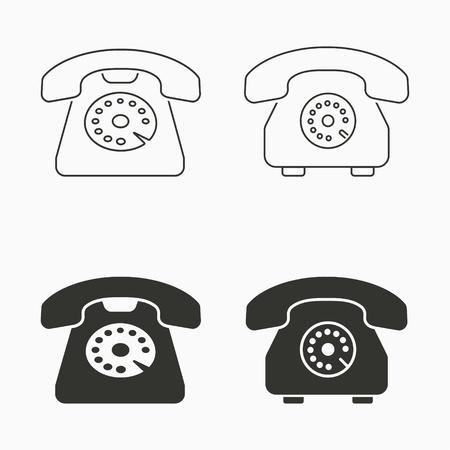 Vector icono de teléfono antiguo, ilustración de teléfono retro.