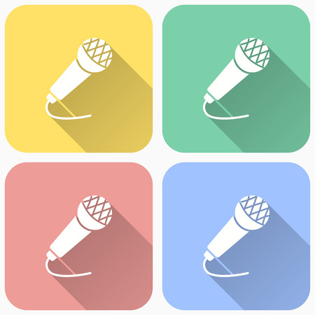 Microphone icon - voice record symbol, vector sound music illustration with long shadow.