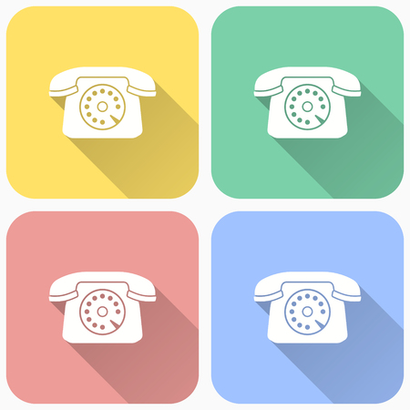 Old phone icon, retro telephone illustration with long shadow for graphic and web design.