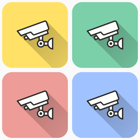 Security camera icon, vector cctv symbol with long shadow for graphic and web design.