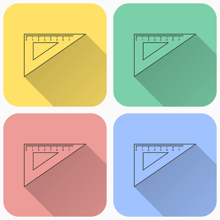 Triangle ruler icon, measure vector illustration