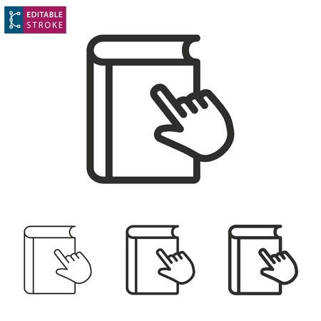 E-learning line icon. Editable stroke. Vector illustration on a white background. Learn, book, digital, distance, education, online, webinar, ets. Ilustração