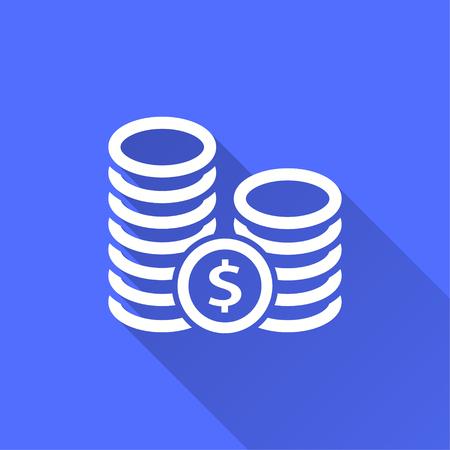 Vector investments money illustration isolated on blue. Illustration