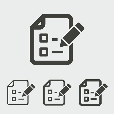 Survey vector icon. Black illustration isolated for graphic and web design.