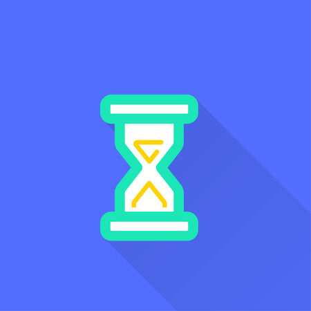 Vector clock time icon. Illustration with long shadow for graphic and web design.  イラスト・ベクター素材