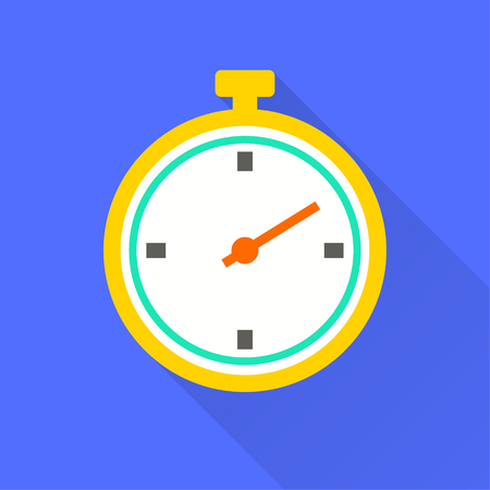 Vector stopwatch icon. Illustration with long shadow for graphic and web design.  イラスト・ベクター素材