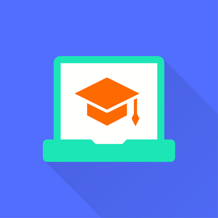 E-learning education icon. Academic study, learn symbol. Illustration with long shadow for graphic and web design.