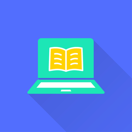 E-learning education icon. Illustration with long shadow for graphic and web design.