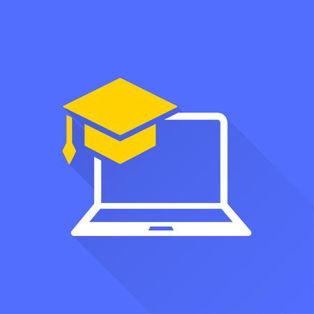 Icono de educación e-learning. Estudio académico, símbolo de aprendizaje. Ilustración con sombra para diseño gráfico y web.