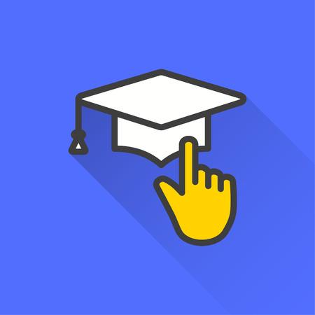 Icône de vecteur d'éducation e-learning avec ombre portée. Illustration isolée sur fond bleu pour la conception graphique et web.