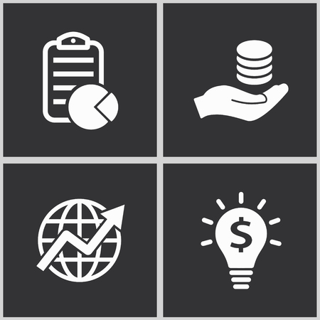 Vector investments money icon set. Illustration isolated for graphic and web design.