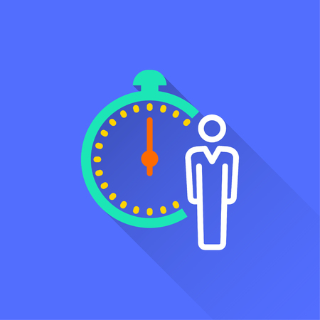 Stopwatch vector icon with long shadow. Illustration isolated on blue background for graphic and web design.