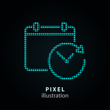 Calendar - pixel icon. Vector Illustration. Design   element. Isolated on black background. It is easy to change to any color.