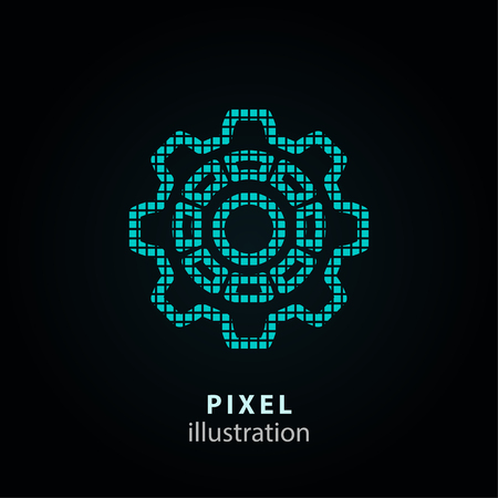 Setting - pixel icon. Vector Illustration. Design  element. Isolated on black background. It is easy to change to any color.