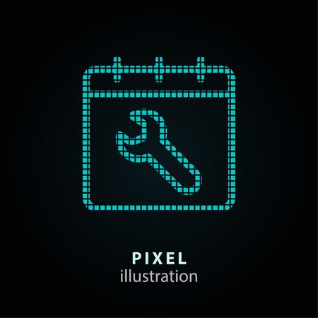 Einstellung - Pixelsymbol. Vektor-Illustration. Gestaltungselement. Auf schwarzem Hintergrund isoliert. Es ist einfach, zu jeder Farbe zu wechseln. Vektorgrafik