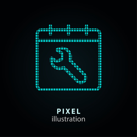 Setting - pixel icon. Vector Illustration. Design element. Isolated on black background. It is easy to change to any color. Vektorové ilustrace