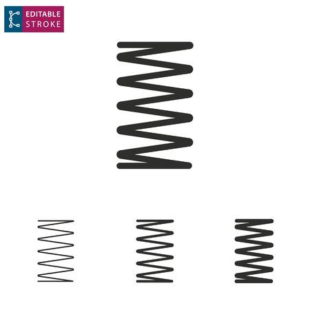 Spring - outline icon on white background. Editable stroke. Vector illustration. Ilustração Vetorial