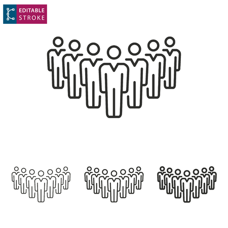 Business meeting people - outline icon on white background. Editable stroke. Vector illustration.
