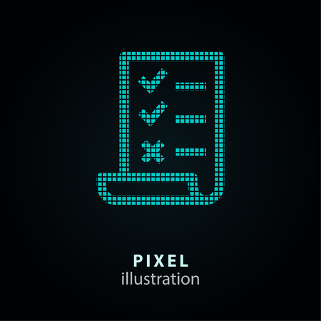Survey - pixel icon. Vector Illustration. Design element. Isolated on black background. It is easy to change to any color.