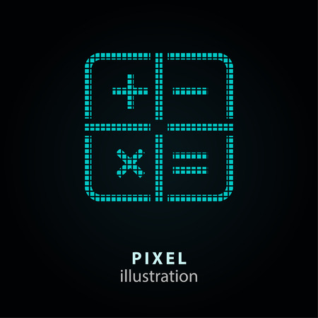 Calculator - pixel icon. Vector Illustration. Design   element. Isolated on black background. It is easy to change to any color. Illustration
