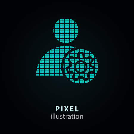 Assistance - pixel icon. Vector Illustration. Design   element. Isolated on black background. It is easy to change to any color.