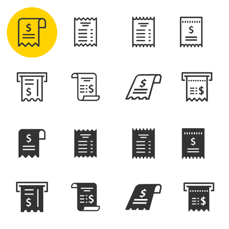 Receipt icon set. Black vector illustrations isolated on white. Simple pictograms for graphic and web design. Ilustração