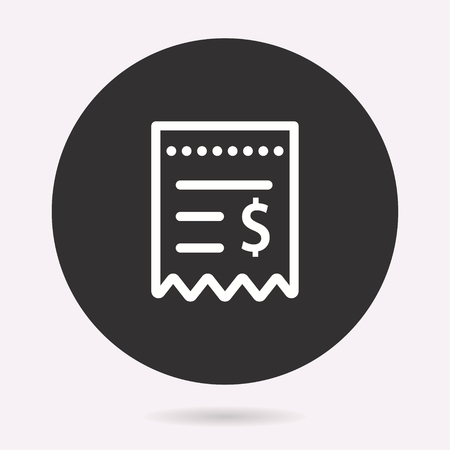 Receipt icon. Vector illustration isolated. Simple pictogram for graphic and web design.