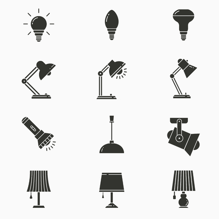 Lighting icon set. Black vector illustrations isolated on white. Simple pictograms for graphic and web design.