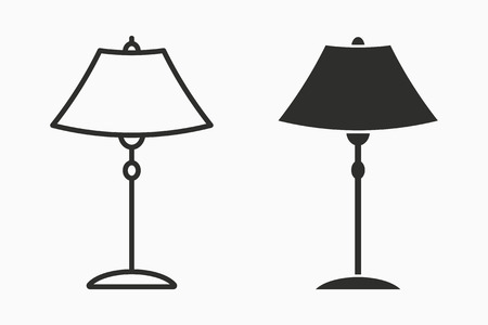 Floor lamp vector icon. Black illustration isolated on white. Simple pictogram for graphic and web design. Illustration