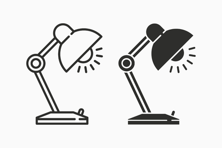Table lamp light vector icon. Black illustration isolated on white. Simple pictogram for graphic and web design.