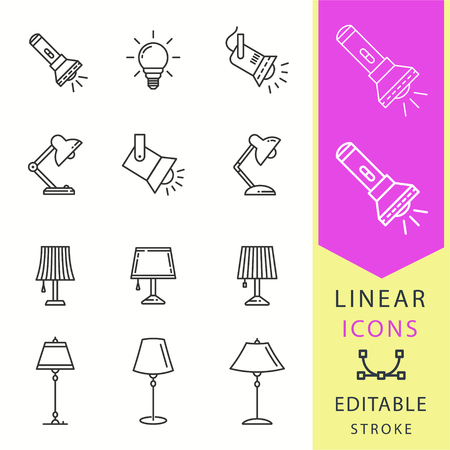 Lighting icons set. Black vector illustration isolated for graphic and web design. Editable stroke.