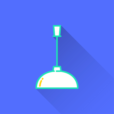 Lighting vector icon with long shadow. Illustration isolated on blue background for graphic and web design. Illustration