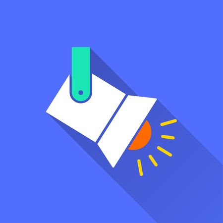 Spotlight vector icon with long shadow. Illustration isolated on blue background for graphic and web design.