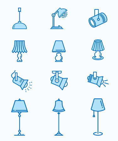 Lighting flat line icons. Thin signs for for mobile and web applications.