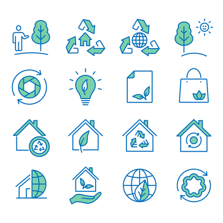 Ecology flat line icons. Set of recycle, environmental,nature, natural, plant and more. Editable Strokes.